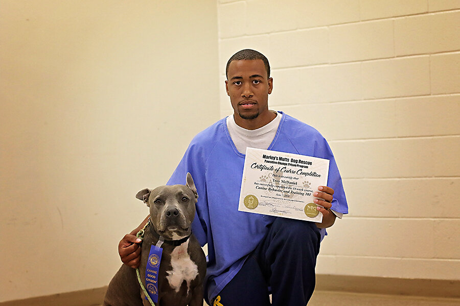 Troy with his Pawsitive Change Program certificate of completion.